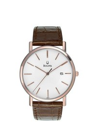 Bulova Rose Gold Accent Leather Strap Watch