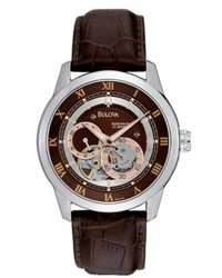 Bulova Watch Automatic Brown Croc Embossed Leather Strap 96a120