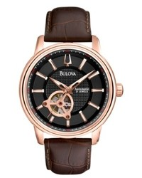 Bulova Watch Automatic Mechanical Brown Leather Strap 45mm 97a109