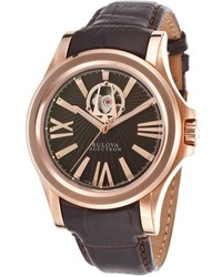 Accutron by Bulova Calibrator Automatic Brown Genuine Leather Brown Textured Dial