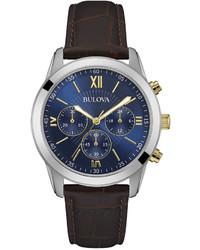 Bulova Chronograph Brown Leather Strap Watch 40mm 98a151