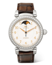 IWC SCHAFFHAUSEN Da Vinci Automatic Moon Phase 36mm Stainless Alligator And Diamond Watch