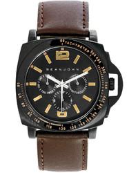 Sean John Diddy Pick Dark Brown Leather Strap Watch 56x49mm 10023983