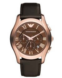 Emporio Armani Watch Chronograph Dark Brown Leather Strap 45mm Ar1701
