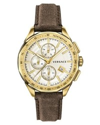 Versace Glaze Chronograph Leather Strap Watch