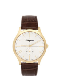 Salvatore Ferragamo Gold Croc Leather Ferragamo Slim Watch