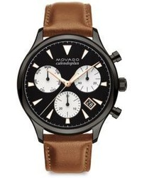 Movado Heritage Series Calendoplan Grey Ion Plated Stainless Steel Leather Strap Watch
