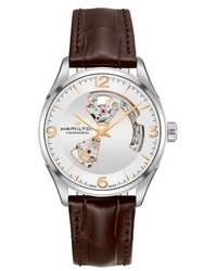 Hamilton Jazzmaster Open Heart Automatic Leather Strap Watch 42mm