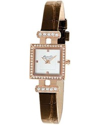 Kenneth Cole New York Kc2826 Classic White Dial Strap Stones Bezel Rose Gold Watch