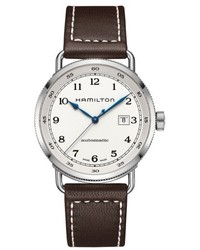 Khaki automatic leather strap watch 43mm medium 5169519