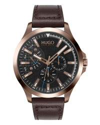 BOSS Leap Multifunction Leather Watch