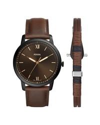 Fossil Leather Watch Bracelet Set