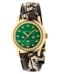 Gucci Malachite G Timeless Automatic Leather Watch