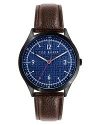 Ted Baker London Manhatt Leather Watch
