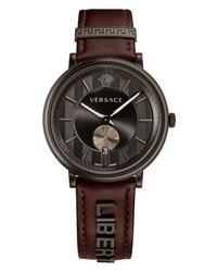 Versace Manifesto Leather Strap Watch