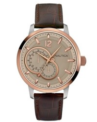 Nautica Watch Brown Leather Strap 44mm N16649g