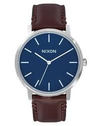 Nixon Porter Round Leather Strap Watch