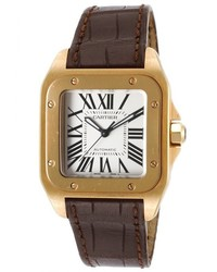 Cartier Santos 100 Auto Dark Brown Genuine Leather Silver Tone Dial