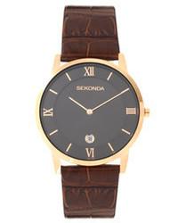 Sekonda Brown Leather Watch