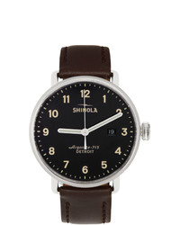 Shinola Silver And Black The Canfield 43mm Watch