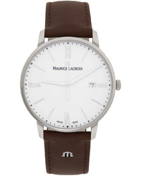 Maurice Lacroix Silver Brown Eliros Date Watch