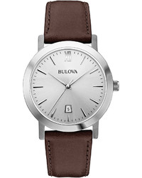 Bulova Silver Tone Round Leather Strap Watch 96b217
