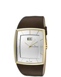 Skagen Silver Dial Brown Leather Watch