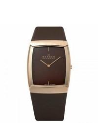 Skagen Stainless Steel Brown Leather Watch