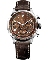 Baume & Mercier Swiss Automatic Chronograph Capeland Dark Brown Alligator Leather Strap Watch 44mm M0a10083