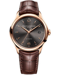 Baume & Mercier Swiss Automatic Clifton Dark Brown Alligator Leather Strap Watch 39mm M0a10059