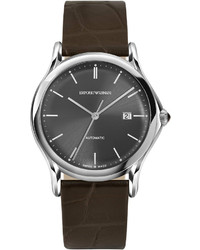 Emporio Armani Swiss Made Automatic Alligator Leather Watch Dark Brown