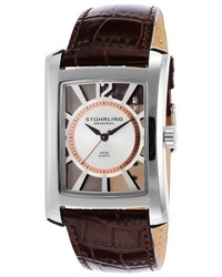 Stuhrling Original Symphony Gatsby Dark Brown Genuine Leather Silver Tone Dial