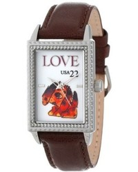 Proenza Schouler The Ps Collection By Arjang And Co Ps 3004s Db Puppy Love Brown Leather Watch