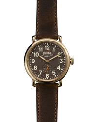 The runwell yellow gold watch with brown leather strap 41mm medium 154099