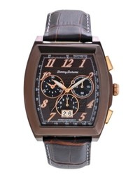Tommy Bahama Watch Swiss Chronograph Dark Brown Crocograin Leather Strap 40mm Tb1242