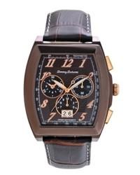 Tommy Bahama Watch Swiss Chronograph Dark Brown Crocograin Leather Strap 40mm Tb1242