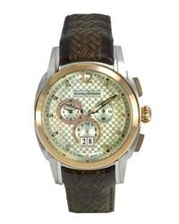 Tommy Bahama Watch Swiss Chronograph Dark Brown Textured Leather Strap 44mm Tb1156