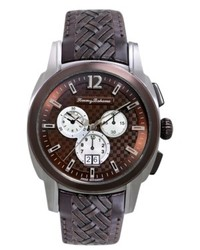 Tommy Bahama Watch Swiss Chronograph Weekender Dark Brown Woven Leather Strap 44mm Tb1245