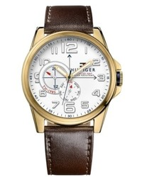 Tommy Hilfiger Brown Leather Strap Watch 46mm 1791003