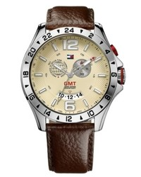 Tommy Hilfiger Gmt Brown Leather Strap Watch 46mm 1790973