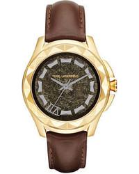 Karl Lagerfeld Unisex Karl 7 Dark Brown Leather Strap Watch 44mm Kl1038