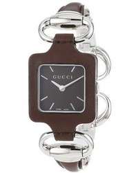 Gucci Ya130403 1921 Brown Leather Bangle And Case Watch
