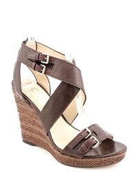 Dark Brown Leather Wedge Sandals