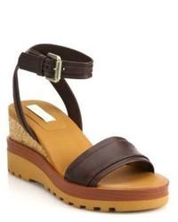See by Chloe Bretone Leather Cork Wedge Sandals
