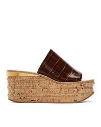 Chloé Brown Croc Wedge Mule Sandals