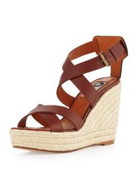 Lanvin Leather Espadrille Wedge Sandal Brown