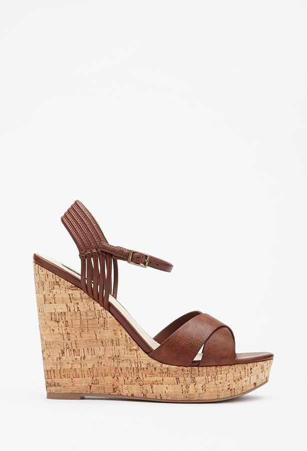 434be4df443 ... Forever 21 Strappy Cork Wedge Sandals ...