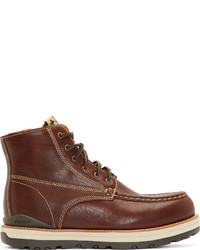 VISVIM Burgundy Leather Moc Toe Boots
