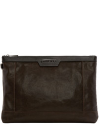 Brown leather zip pouch medium 615818