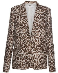 Stella McCartney Peak Lapel Leopard Print Wool Blend Blazer